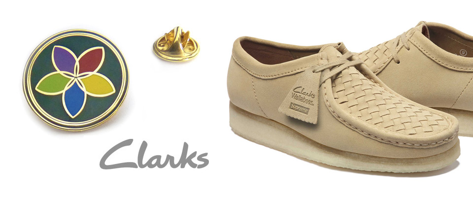 Premium enamel lapel pins custom made for Clarks shoes