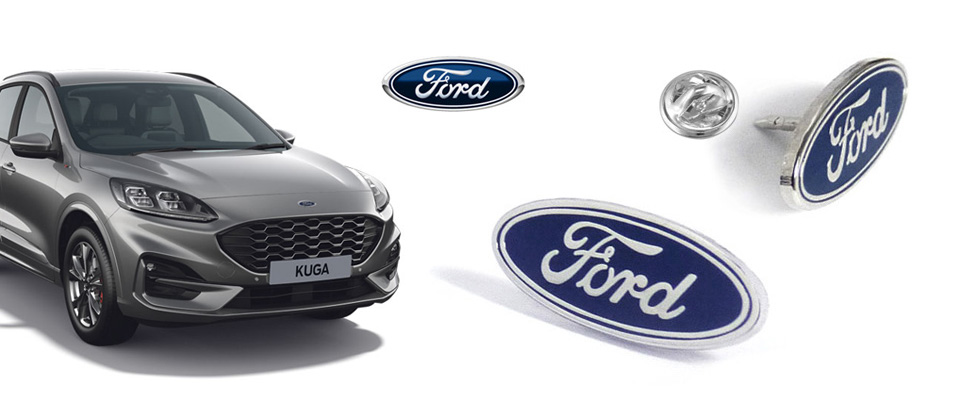 Branded promotional custom enamel pins made for Ford company product launch