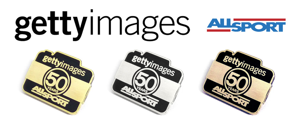 Premium enamel badges personalised for Getty Images brand.