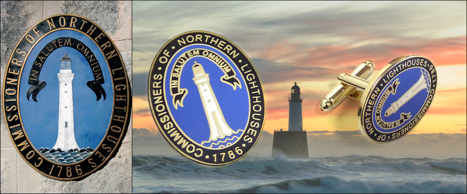 Historical enamel badges and cufflinks made for the Northern Lighhouse and used as promotional gifts