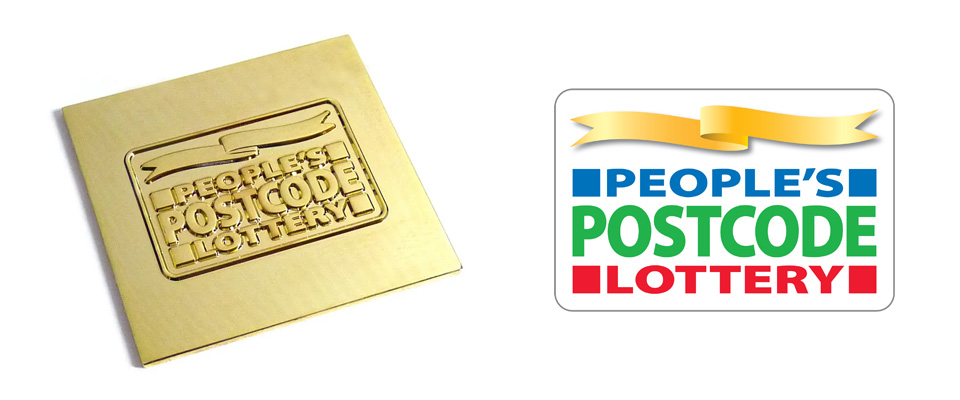 Pesonalised metal plate custom made for a postcode lottery promotion